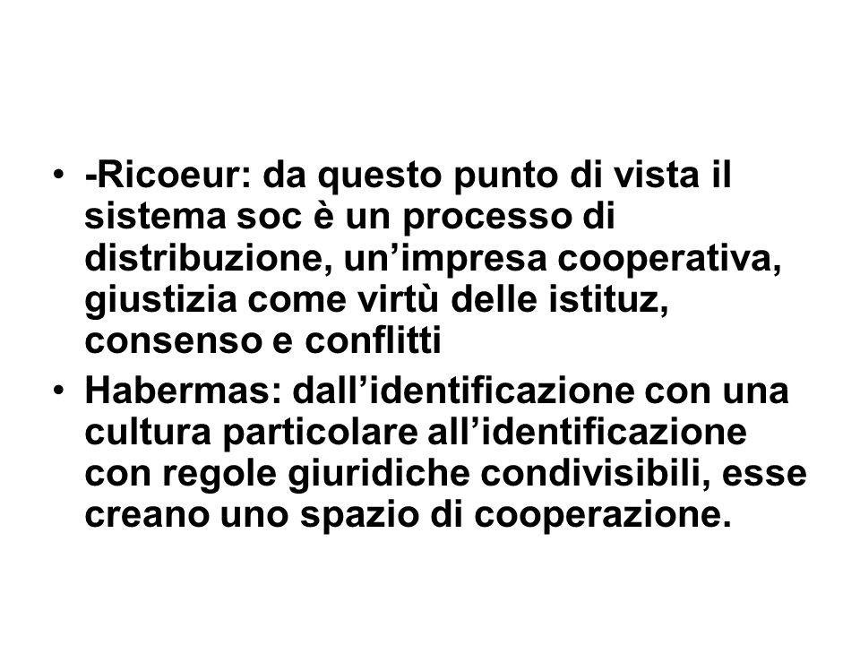 -Ricoeur: da questo punto di vista il sistema soc è un processo di distribuzione, unimpresa cooperativa, giustizia come virtù delle istituz, consenso