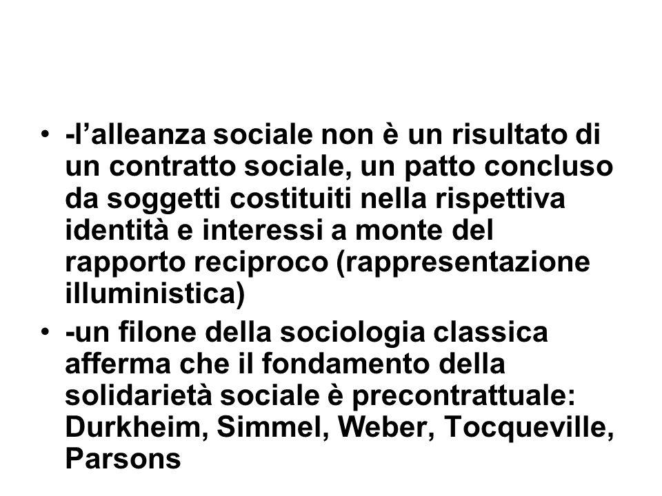 -lalleanza sociale non è un risultato di un contratto sociale, un patto concluso da soggetti costituiti nella rispettiva identità e interessi a monte