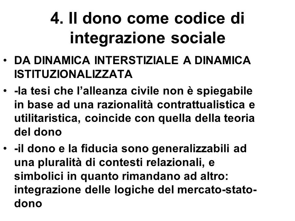 4. Il dono come codice di integrazione sociale DA DINAMICA INTERSTIZIALE A DINAMICA ISTITUZIONALIZZATA -la tesi che lalleanza civile non è spiegabile