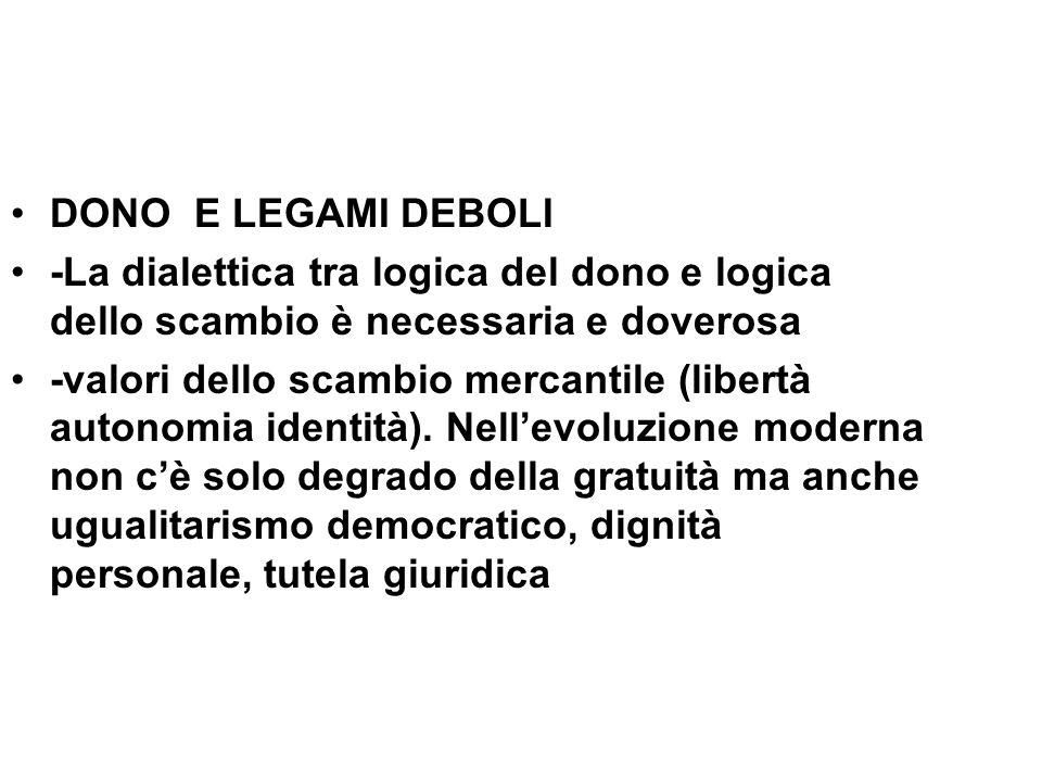 DONO E LEGAMI DEBOLI -La dialettica tra logica del dono e logica dello scambio è necessaria e doverosa -valori dello scambio mercantile (libertà auton