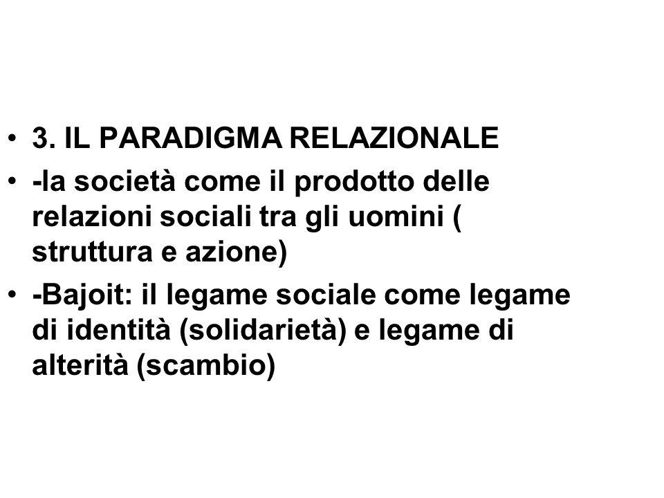 3. IL PARADIGMA RELAZIONALE -la società come il prodotto delle relazioni sociali tra gli uomini ( struttura e azione) -Bajoit: il legame sociale come
