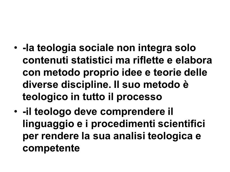 -la teologia sociale non integra solo contenuti statistici ma riflette e elabora con metodo proprio idee e teorie delle diverse discipline.