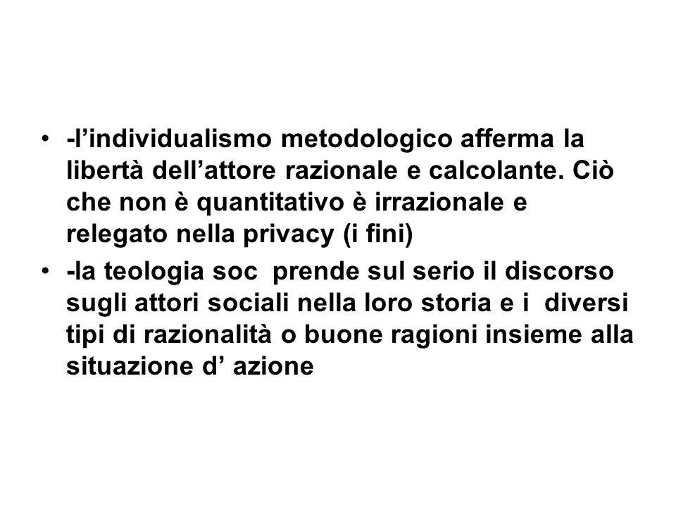 -lindividualismo metodologico afferma la libertà dellattore razionale e calcolante.