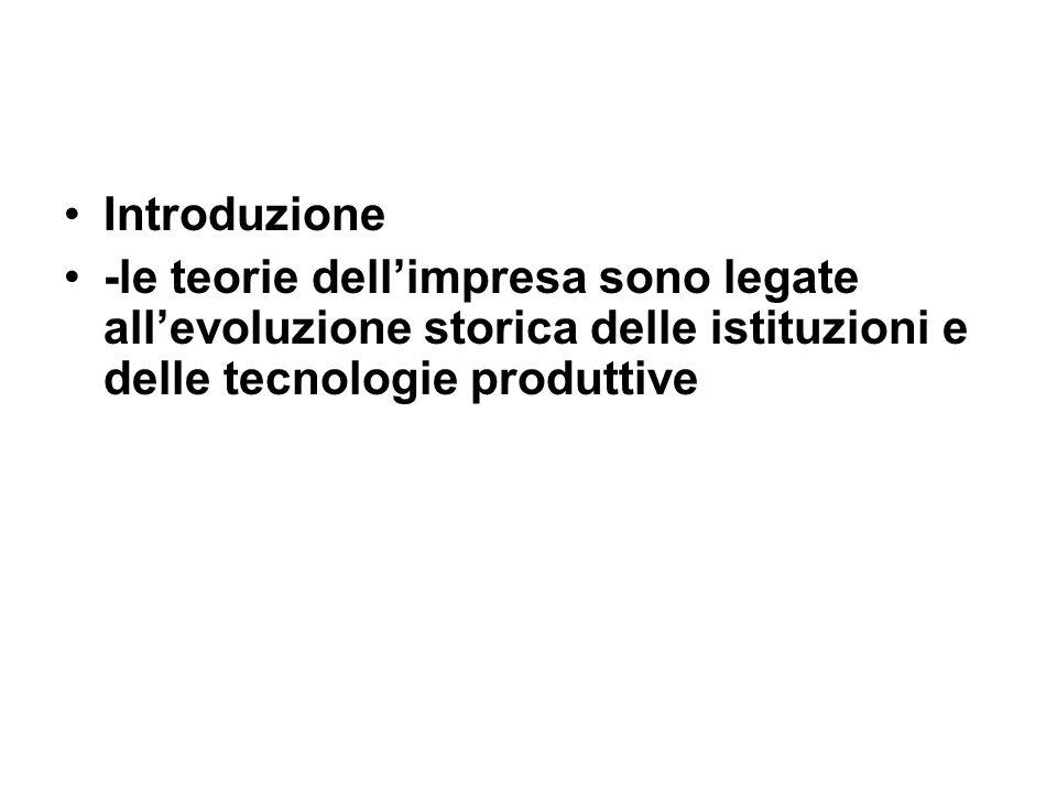 Introduzione -le teorie dellimpresa sono legate allevoluzione storica delle istituzioni e delle tecnologie produttive