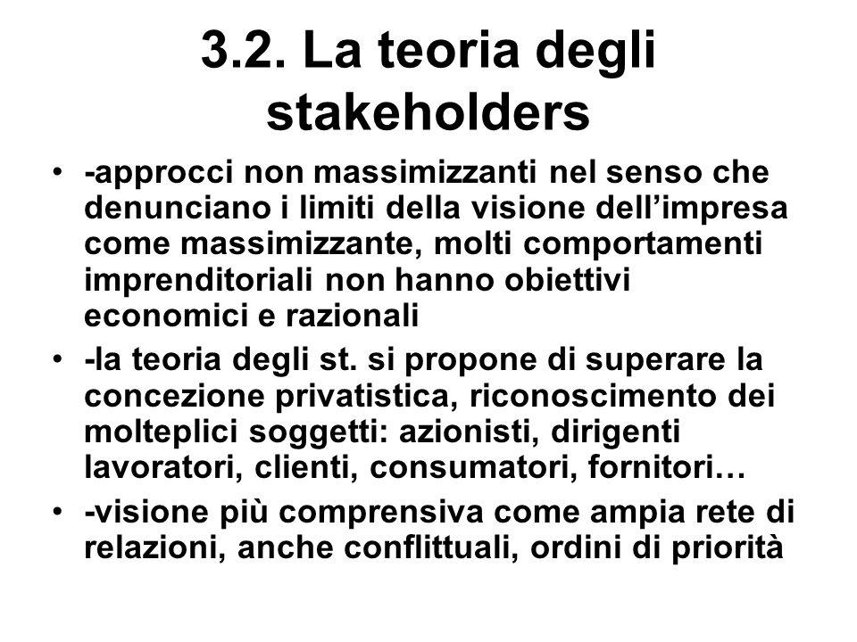 3.2. La teoria degli stakeholders -approcci non massimizzanti nel senso che denunciano i limiti della visione dellimpresa come massimizzante, molti co
