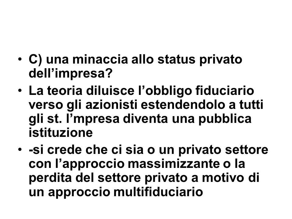 C) una minaccia allo status privato dellimpresa.