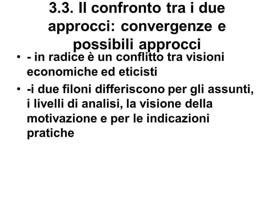 3.3. Il confronto tra i due approcci: convergenze e possibili approcci - in radice è un conflitto tra visioni economiche ed eticisti -i due filoni dif