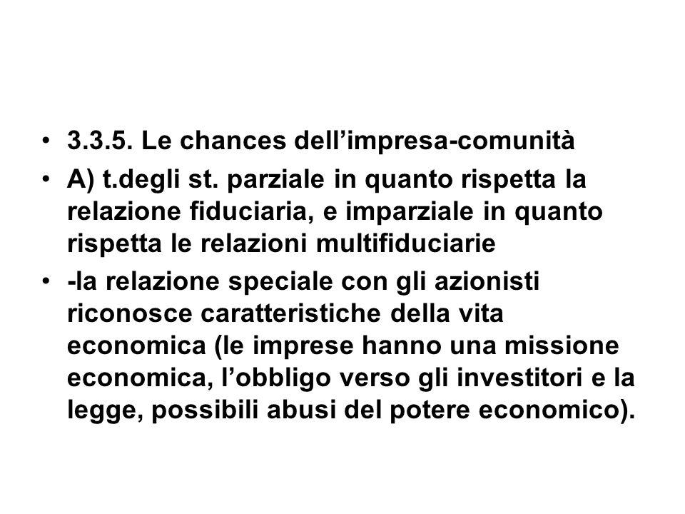 3.3.5. Le chances dellimpresa-comunità A) t.degli st.