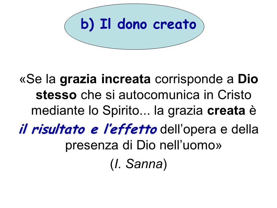 b) Il dono creato «Se la grazia increata corrisponde a Dio stesso che si autocomunica in Cristo mediante lo Spirito... la grazia creata è il risultato