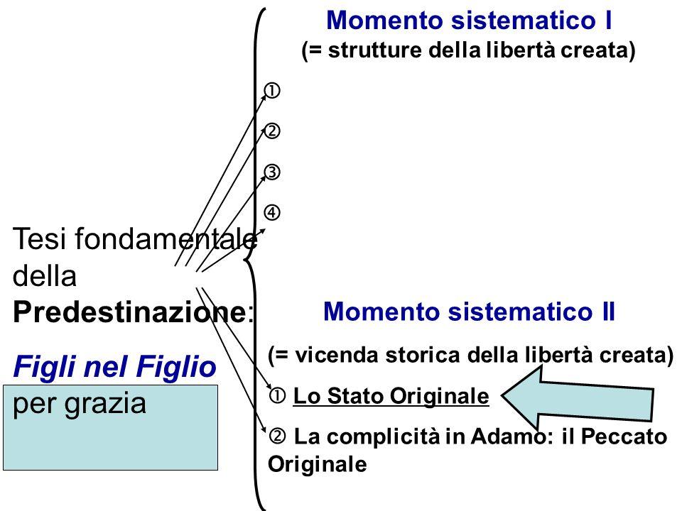 Tesi fondamentale della Predestinazione: Figli nel Figlio per grazia Momento sistematico I (= strutture della libertà creata) Momento sistematico II (