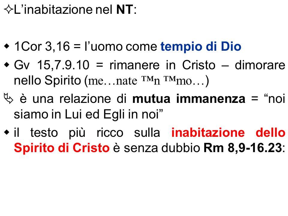 Linabitazione nel NT: 1Cor 3,16 = luomo come tempio di Dio Gv 15,7.9.10 = rimanere in Cristo – dimorare nello Spirito (me…nate n mo…) è una relazione