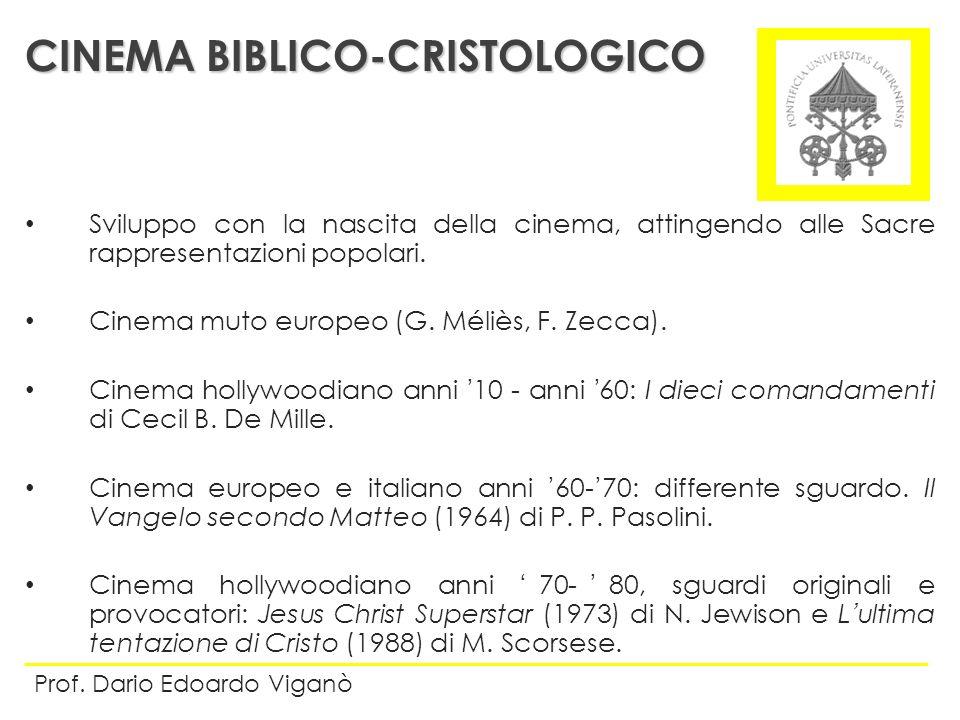 Sviluppo con la nascita della cinema, attingendo alle Sacre rappresentazioni popolari. Cinema muto europeo (G. Méliès, F. Zecca). Cinema hollywoodiano