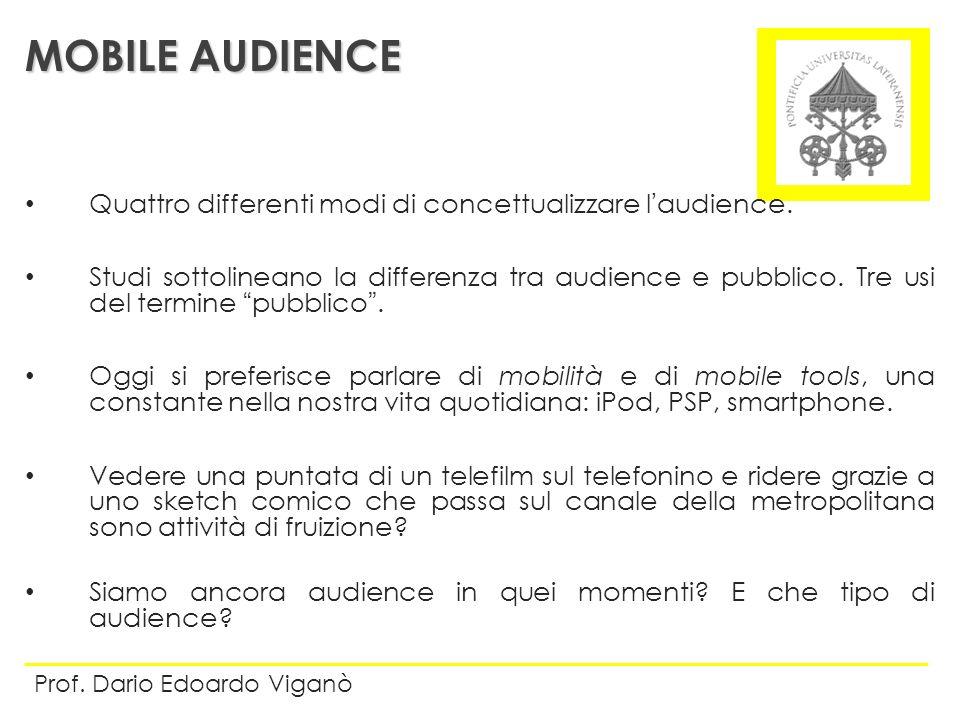 Quattro differenti modi di concettualizzare laudience. Studi sottolineano la differenza tra audience e pubblico. Tre usi del termine pubblico. Oggi si