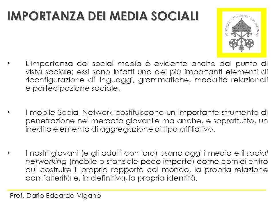 Limportanza dei social media è evidente anche dal punto di vista sociale; essi sono infatti uno dei più importanti elementi di riconfigurazione di lin