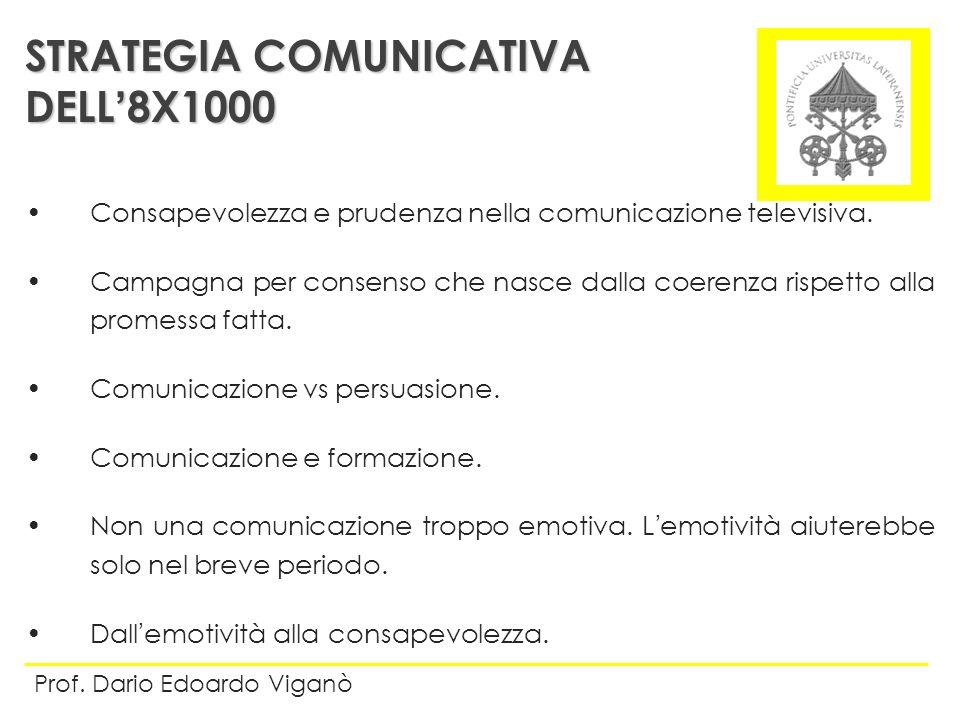 STRATEGIA COMUNICATIVA DELL8X1000 Prof. Dario Edoardo Viganò Consapevolezza e prudenza nella comunicazione televisiva. Campagna per consenso che nasce