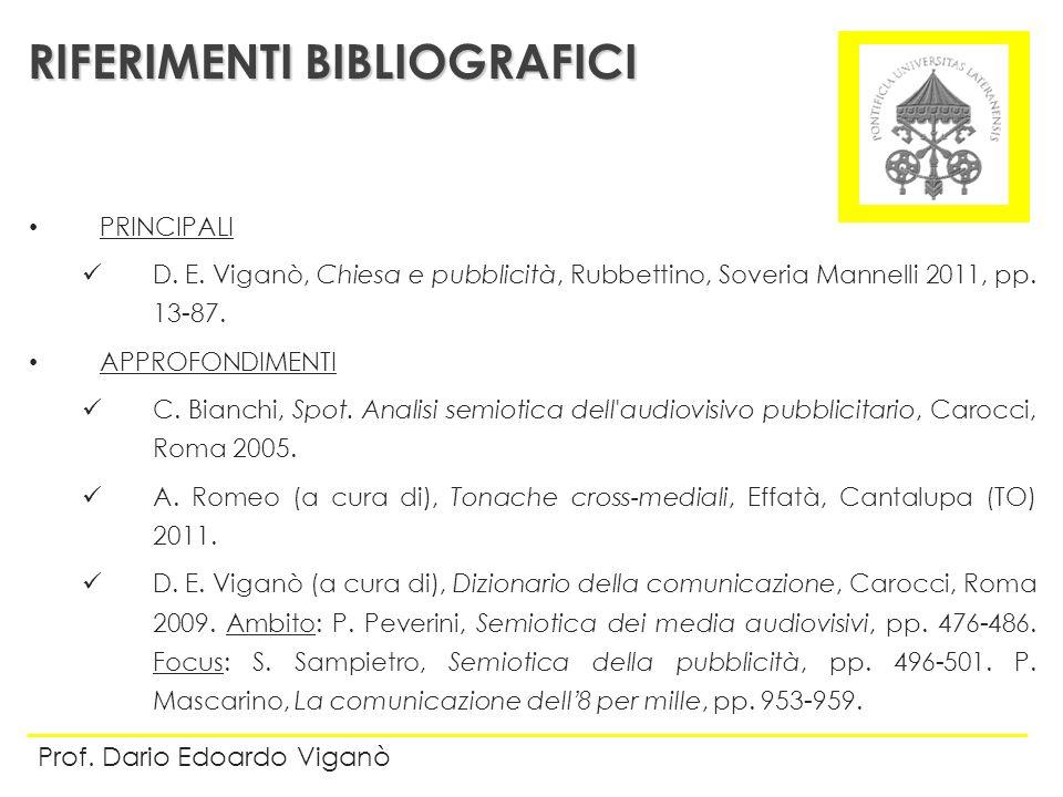PRINCIPALI D. E. Viganò, Chiesa e pubblicità, Rubbettino, Soveria Mannelli 2011, pp. 13-87. APPROFONDIMENTI C. Bianchi, Spot. Analisi semiotica dell'a
