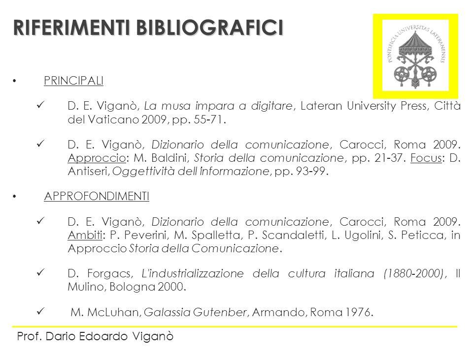 PRINCIPALI D. E. Viganò, La musa impara a digitare, Lateran University Press, Città del Vaticano 2009, pp. 55-71. D. E. Viganò, Dizionario della comun