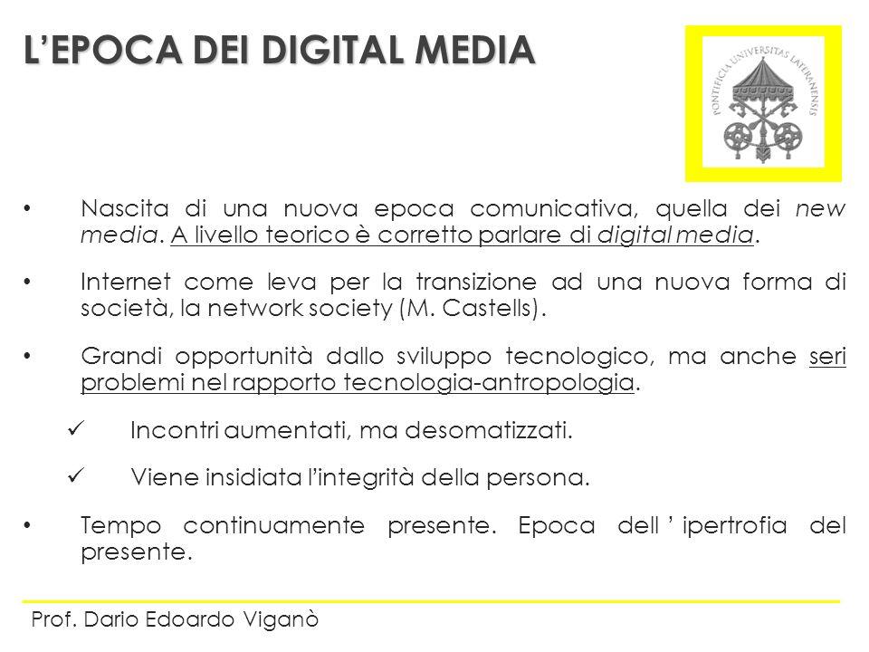 Nascita di una nuova epoca comunicativa, quella dei new media. A livello teorico è corretto parlare di digital media. Internet come leva per la transi
