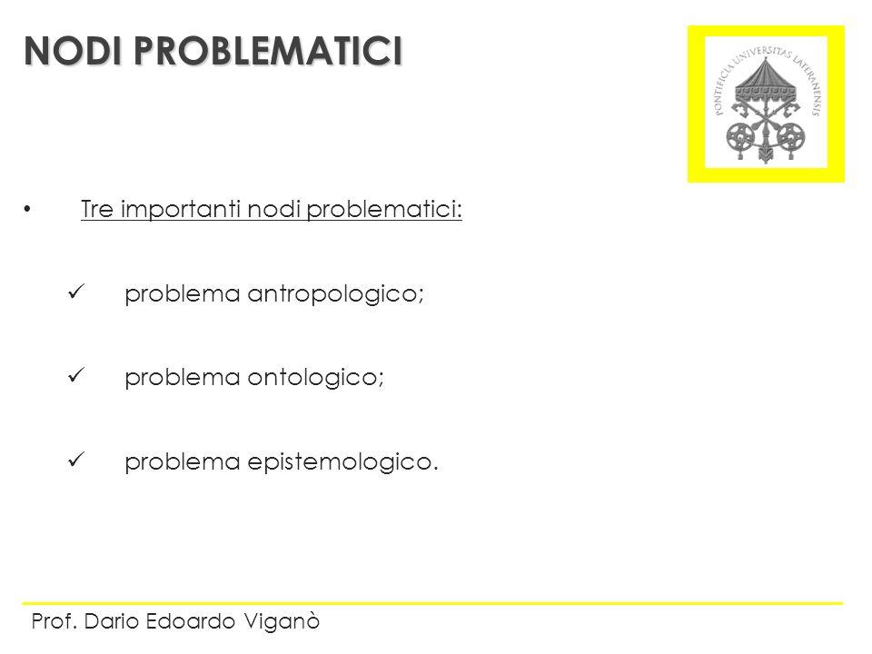 Tre importanti nodi problematici: problema antropologico; problema ontologico; problema epistemologico. NODI PROBLEMATICI Prof. Dario Edoardo Viganò