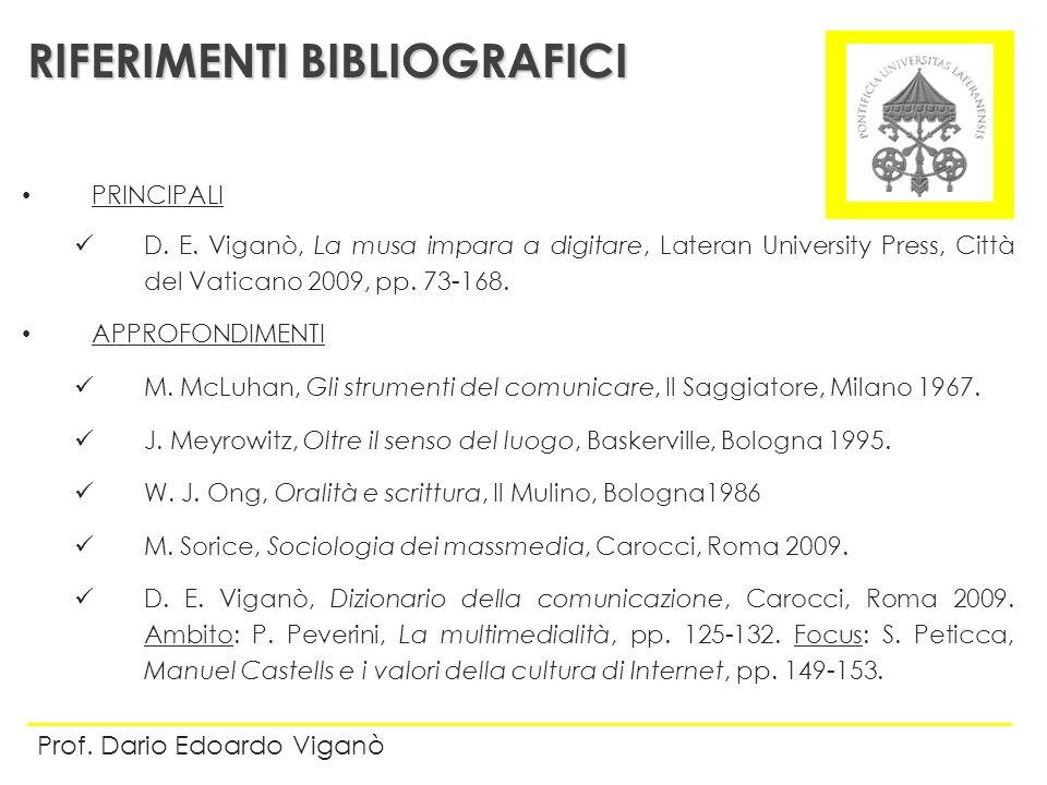 PRINCIPALI D. E. Viganò, La musa impara a digitare, Lateran University Press, Città del Vaticano 2009, pp. 73-168. APPROFONDIMENTI M. McLuhan, Gli str