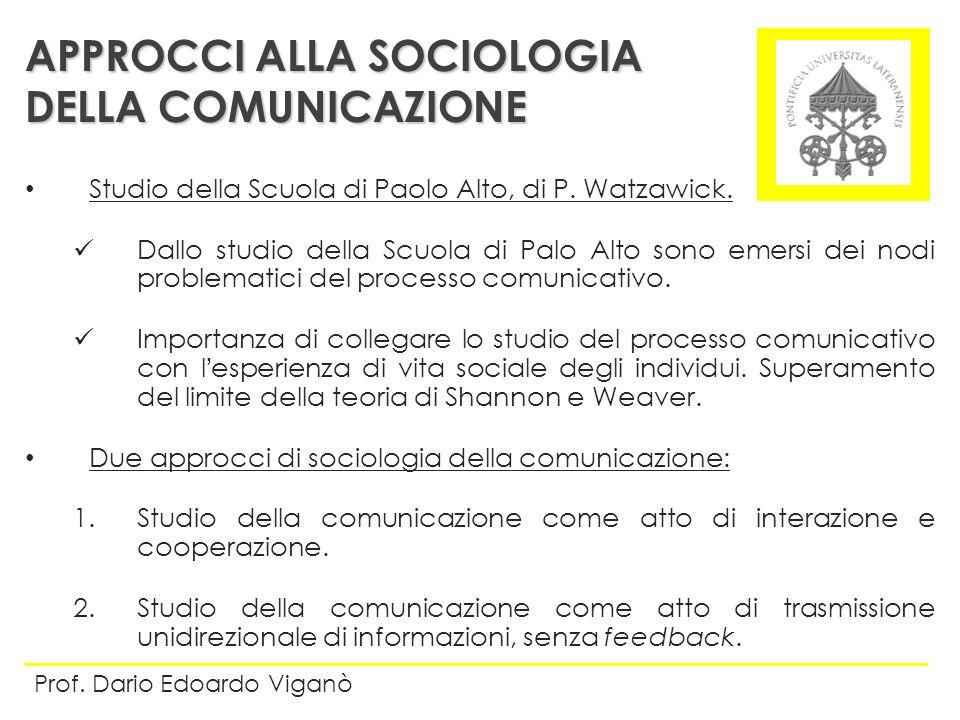 Studio della Scuola di Paolo Alto, di P. Watzawick. Dallo studio della Scuola di Palo Alto sono emersi dei nodi problematici del processo comunicativo