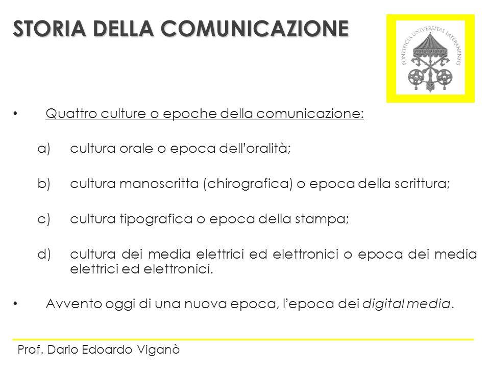 Quattro culture o epoche della comunicazione: a)cultura orale o epoca delloralità; b)cultura manoscritta (chirografica) o epoca della scrittura; c)cul