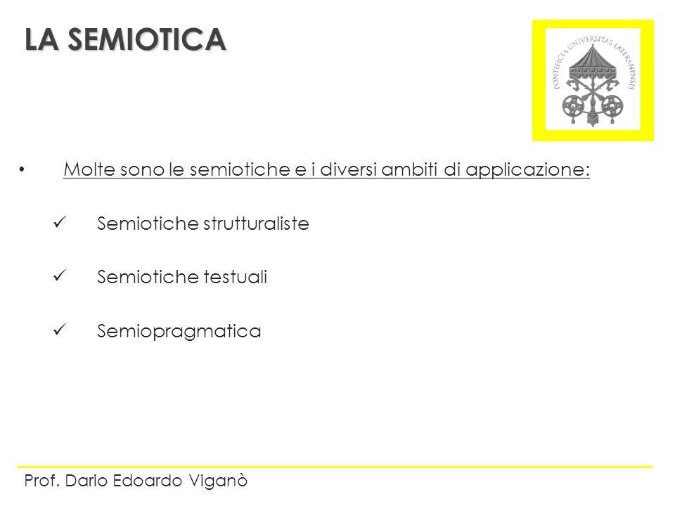 Molte sono le semiotiche e i diversi ambiti di applicazione: Semiotiche strutturaliste Semiotiche testuali Semiopragmatica LA SEMIOTICA Prof. Dario Ed