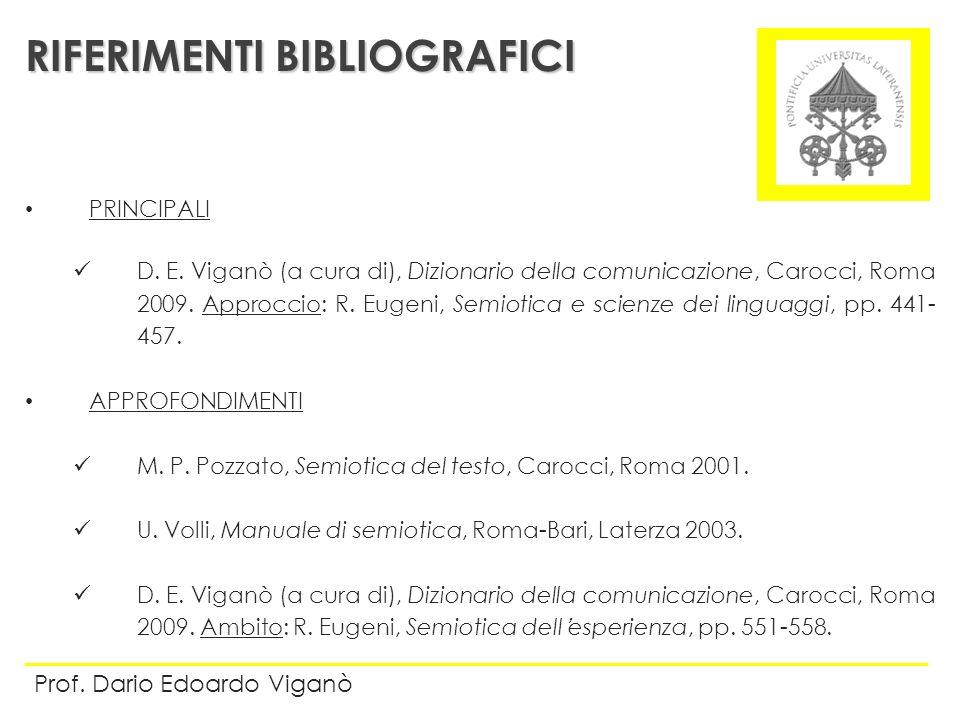 PRINCIPALI D. E. Viganò (a cura di), Dizionario della comunicazione, Carocci, Roma 2009. Approccio: R. Eugeni, Semiotica e scienze dei linguaggi, pp.