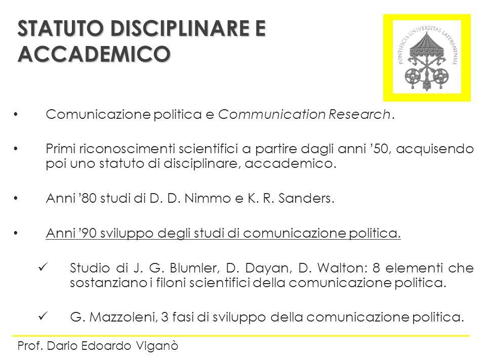 Comunicazione politica e Communication Research. Primi riconoscimenti scientifici a partire dagli anni 50, acquisendo poi uno statuto di disciplinare,