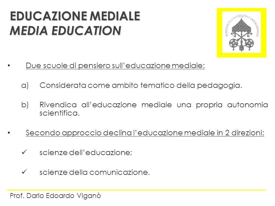 Due scuole di pensiero sulleducazione mediale: a)Considerata come ambito tematico della pedagogia. b)Rivendica alleducazione mediale una propria auton