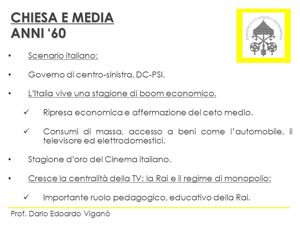 Scenario italiano: Governo di centro-sinistra, DC-PSI. LItalia vive una stagione di boom economico. Ripresa economica e affermazione del ceto medio. C