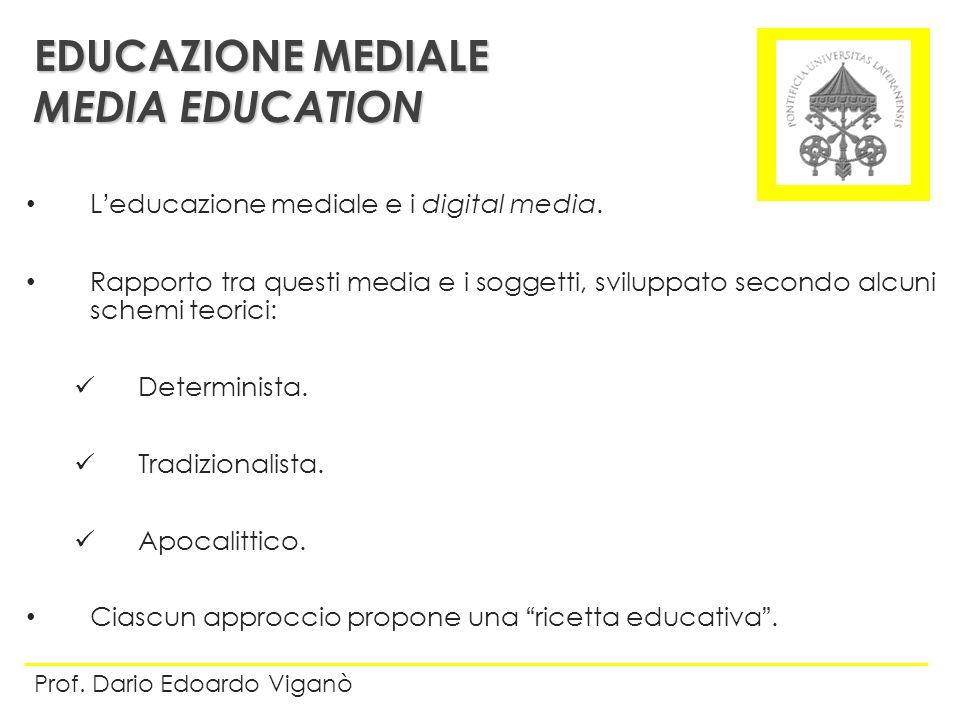 Leducazione mediale e i digital media. Rapporto tra questi media e i soggetti, sviluppato secondo alcuni schemi teorici: Determinista. Tradizionalista