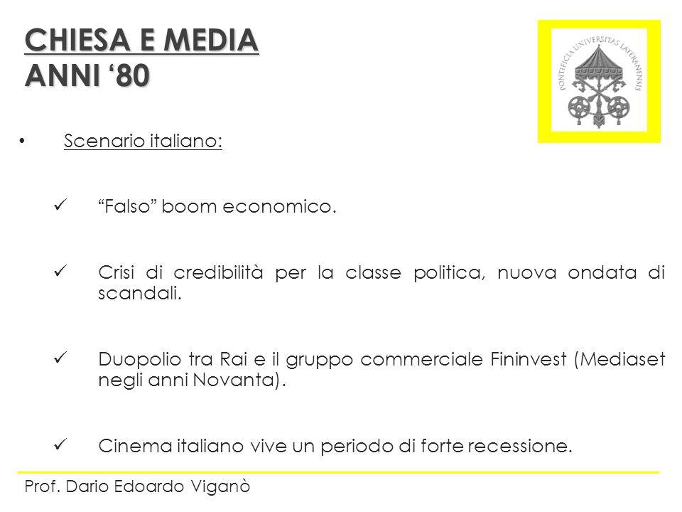 Scenario italiano: Falso boom economico. Crisi di credibilità per la classe politica, nuova ondata di scandali. Duopolio tra Rai e il gruppo commercia