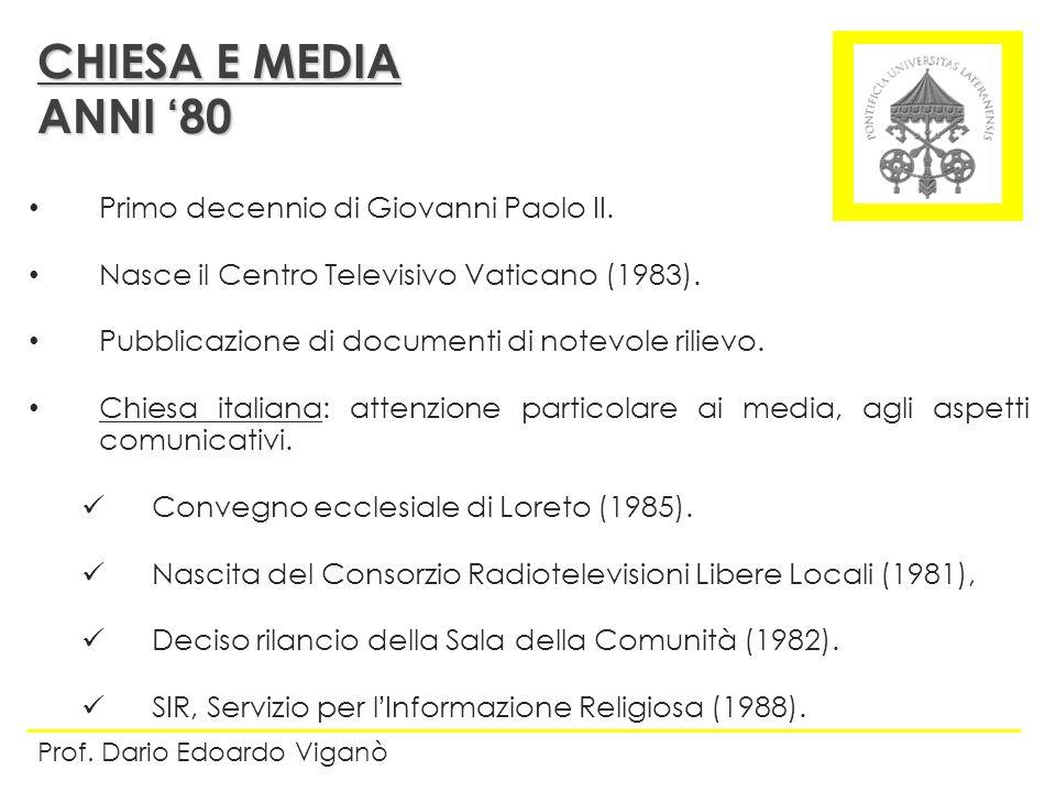 Primo decennio di Giovanni Paolo II. Nasce il Centro Televisivo Vaticano (1983). Pubblicazione di documenti di notevole rilievo. Chiesa italiana: atte