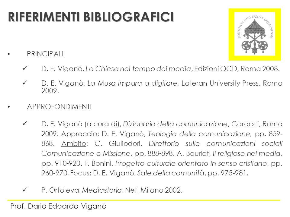 PRINCIPALI D. E. Viganò, La Chiesa nel tempo dei media, Edizioni OCD, Roma 2008. D. E. Viganò, La Musa impara a digitare, Lateran University Press, Ro
