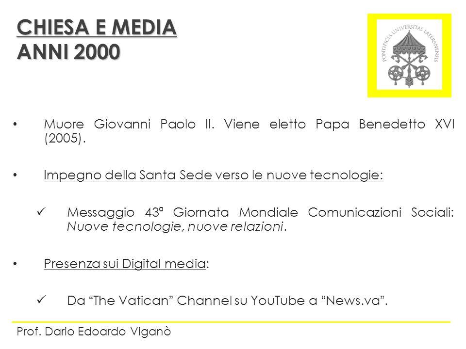 Muore Giovanni Paolo II. Viene eletto Papa Benedetto XVI (2005). Impegno della Santa Sede verso le nuove tecnologie: Messaggio 43ª Giornata Mondiale C