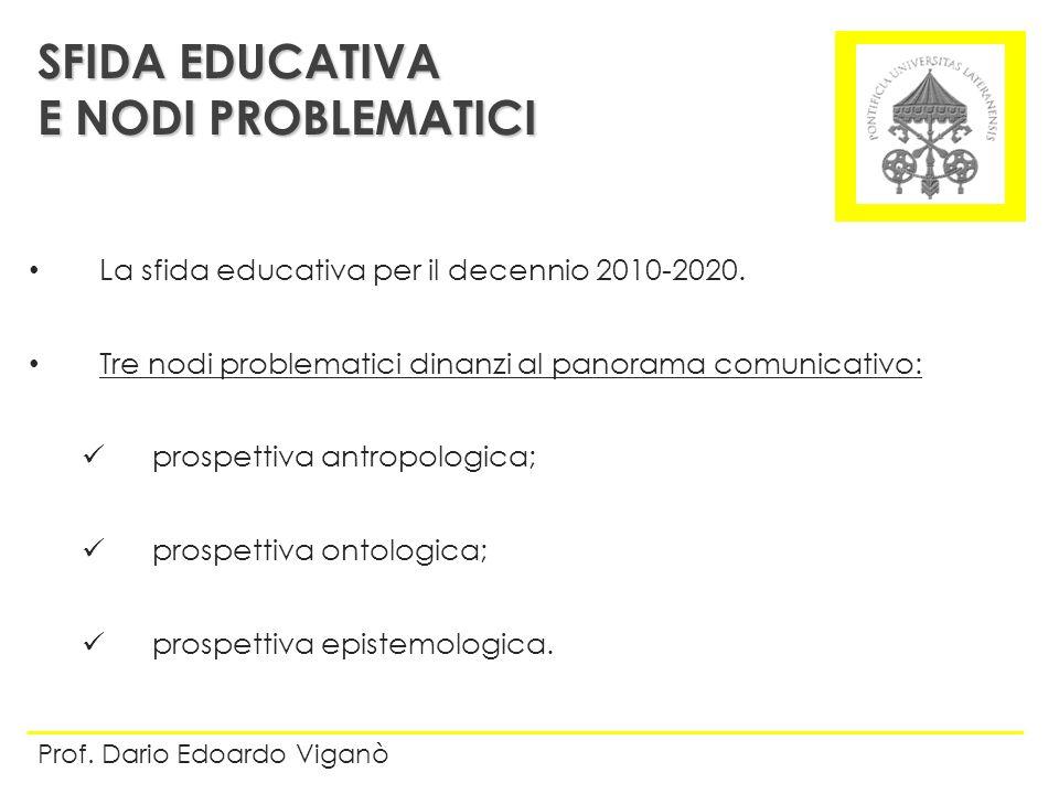 La sfida educativa per il decennio 2010-2020. Tre nodi problematici dinanzi al panorama comunicativo: prospettiva antropologica; prospettiva ontologic