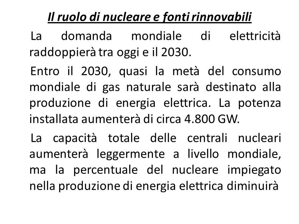 Il ruolo di nucleare e fonti rinnovabili La domanda mondiale di elettricità raddoppierà tra oggi e il 2030.