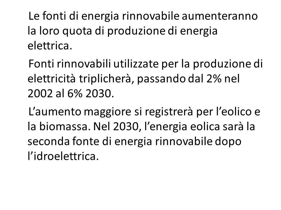 Le fonti di energia rinnovabile aumenteranno la loro quota di produzione di energia elettrica.