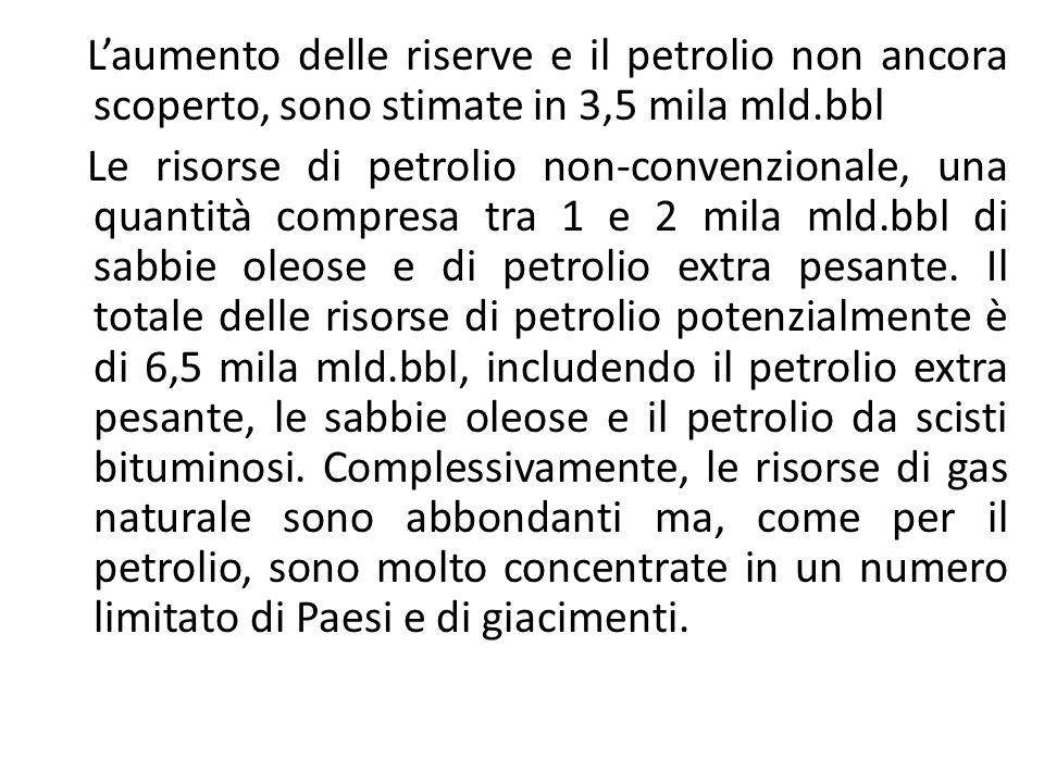 Laumento delle riserve e il petrolio non ancora scoperto, sono stimate in 3,5 mila mld.bbl Le risorse di petrolio non-convenzionale, una quantità compresa tra 1 e 2 mila mld.bbl di sabbie oleose e di petrolio extra pesante.