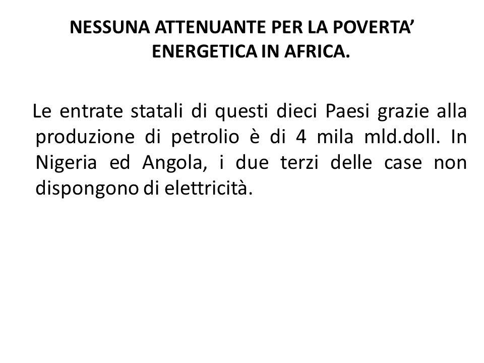 NESSUNA ATTENUANTE PER LA POVERTA ENERGETICA IN AFRICA.
