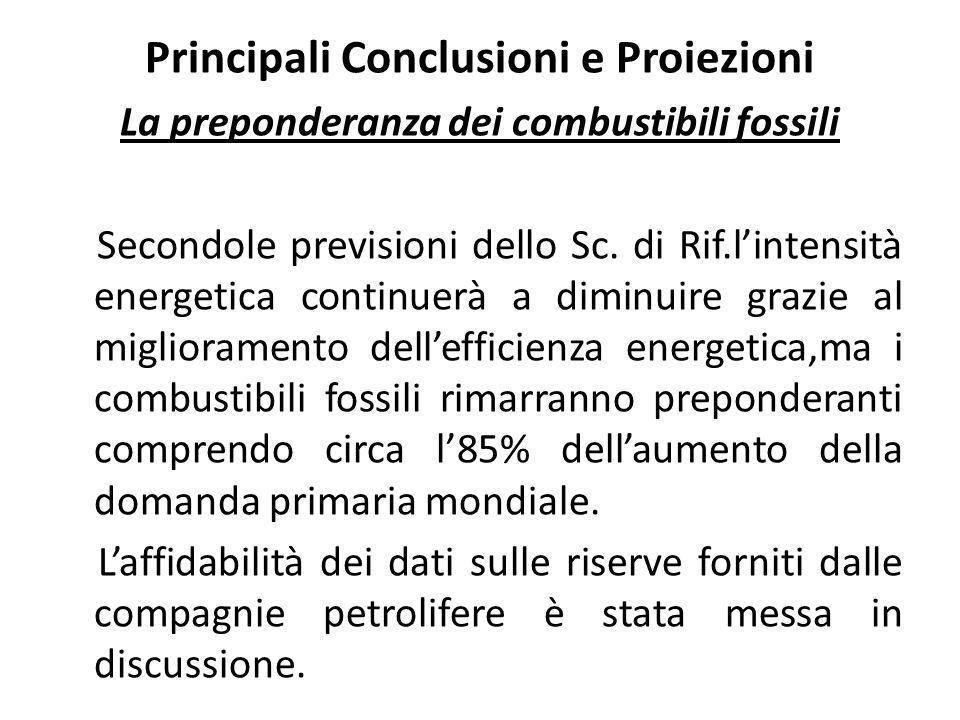 Principali Conclusioni e Proiezioni La preponderanza dei combustibili fossili Secondole previsioni dello Sc.