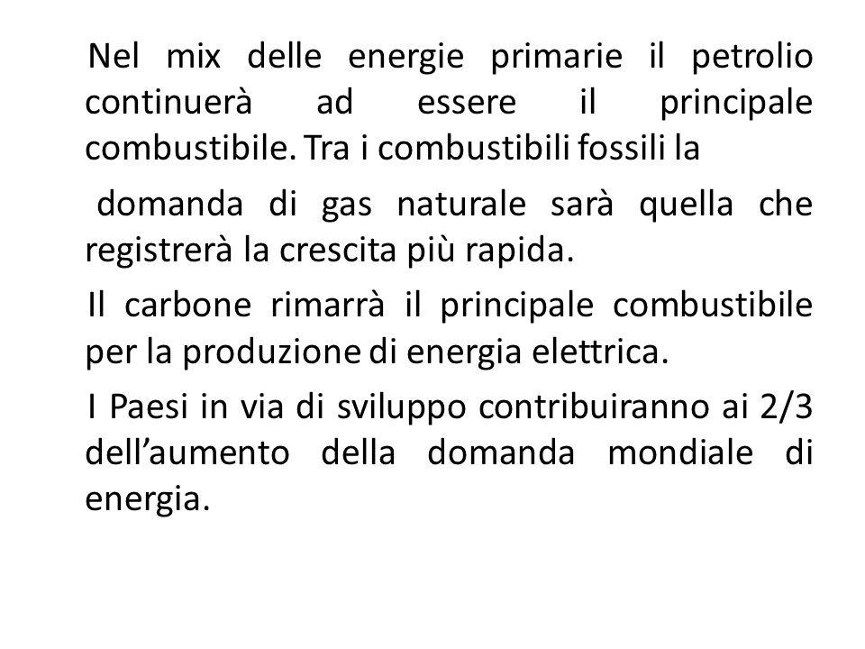 Nel mix delle energie primarie il petrolio continuerà ad essere il principale combustibile.