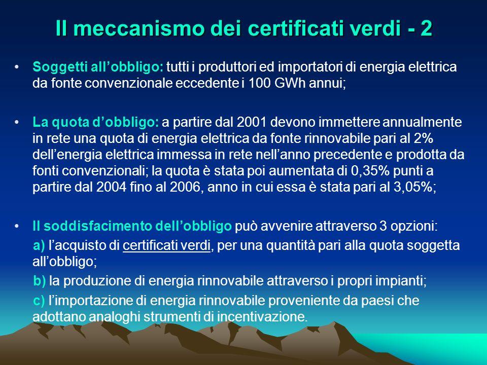 Il meccanismo dei certificati verdi - 2 Soggetti allobbligo: tutti i produttori ed importatori di energia elettrica da fonte convenzionale eccedente i