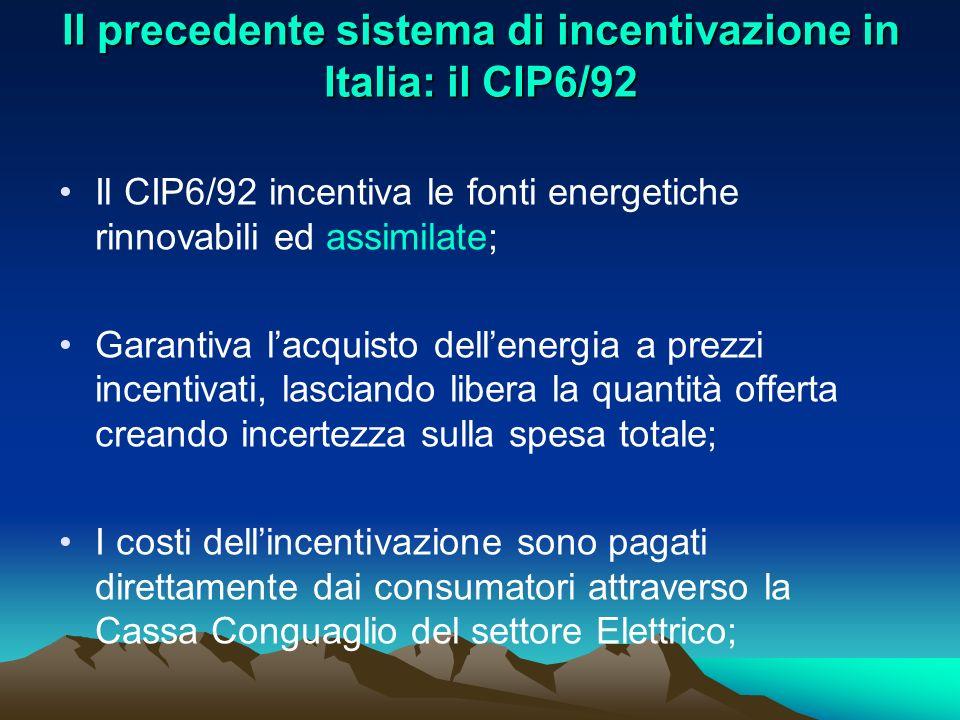 Il precedente sistema di incentivazione in Italia: il CIP6/92 Il CIP6/92 incentiva le fonti energetiche rinnovabili ed assimilate; Garantiva lacquisto