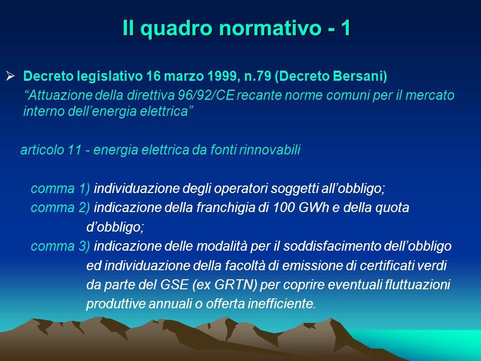 Il quadro normativo - 1 Decreto legislativo 16 marzo 1999, n.79 (Decreto Bersani) Attuazione della direttiva 96/92/CE recante norme comuni per il merc