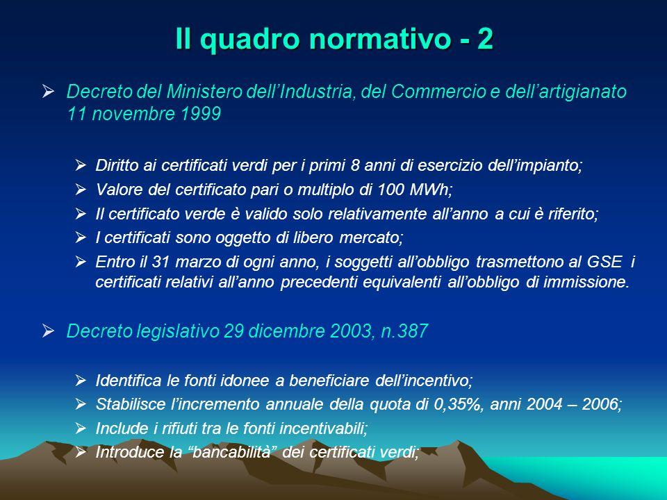 Il quadro normativo - 2 Decreto del Ministero dellIndustria, del Commercio e dellartigianato 11 novembre 1999 Diritto ai certificati verdi per i primi