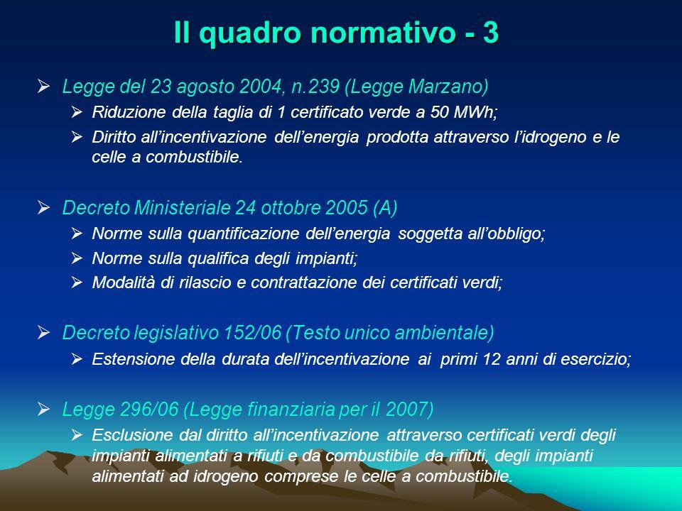 Il quadro normativo - 3 Legge del 23 agosto 2004, n.239 (Legge Marzano) Riduzione della taglia di 1 certificato verde a 50 MWh; Diritto allincentivazi