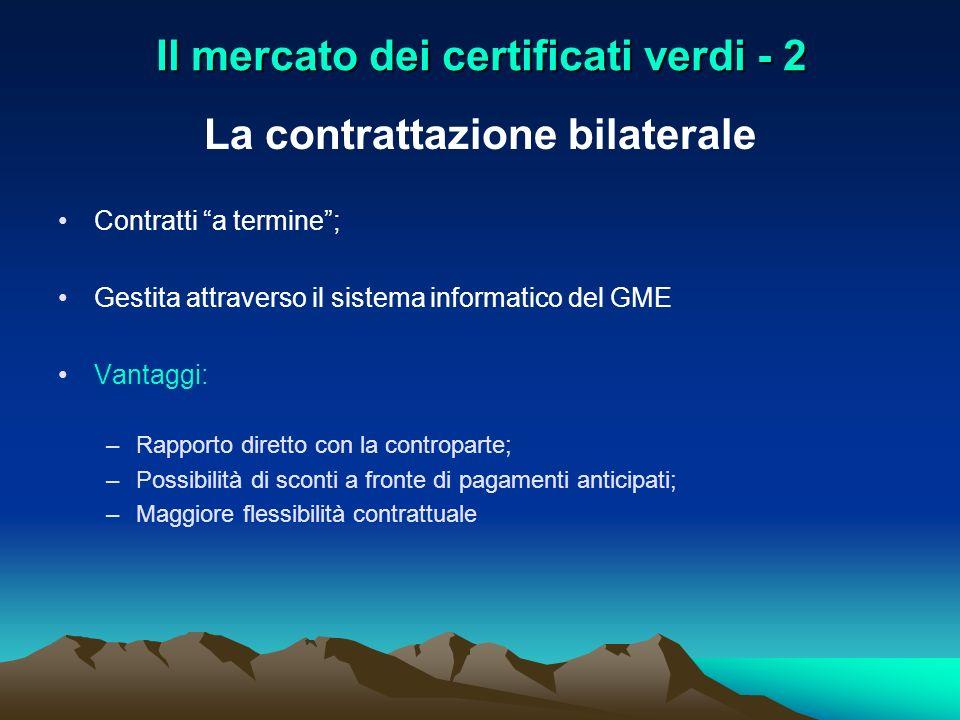 Il mercato dei certificati verdi - 2 La contrattazione bilaterale Contratti a termine; Gestita attraverso il sistema informatico del GME Vantaggi: –Ra