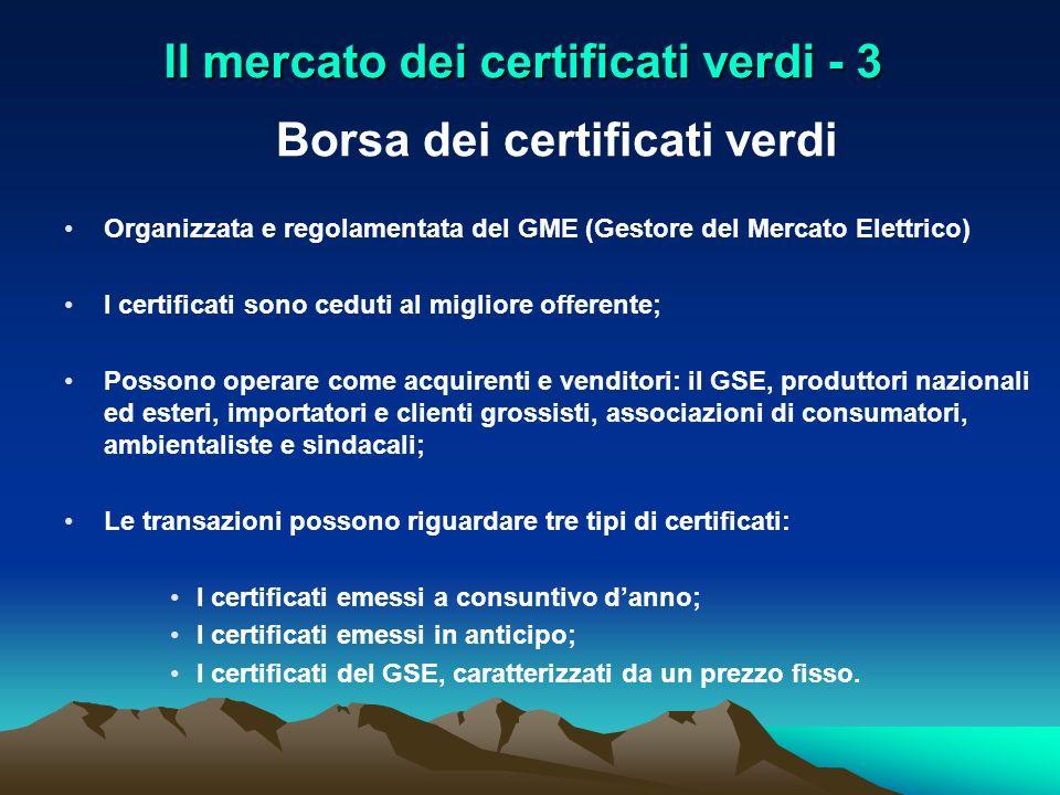 Il mercato dei certificati verdi - 3 Borsa dei certificati verdi Organizzata e regolamentata del GME (Gestore del Mercato Elettrico) I certificati son